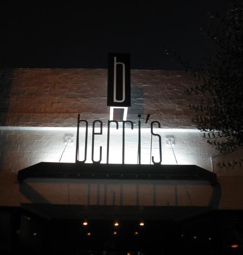 Berri's Exterior Signage Illuminated