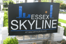 Skyline Push Thru Graphic Monument Sign by Landmark Signs