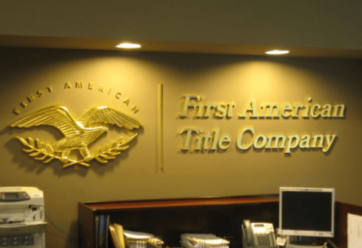 first american title company lobby sign
