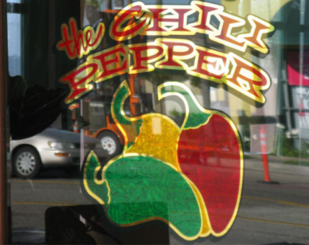 the chili pepper gold leaf window graphic