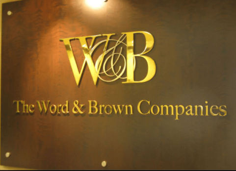 word & brown lobby sign