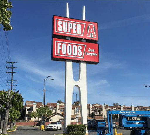 Super A Food Pole Sign